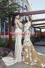 Kostenloser Versand Sexy Langen Ärmeln V-ausschnitt Champagne Tüll Abendkleider 2016 Mit Weißer Spitze Appliques Arabisch Kaftan Abendkleid