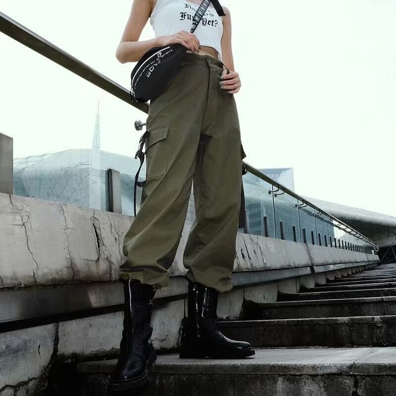 2019 Streetwear Cargo   Pants   Women Casual Joggers Green High Waist Loose Female Trousers Korean Style Ladies   Pants     Capri   XM509