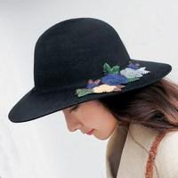 Seioum Fashion 100% Wool Winter Autumn embroidery Soft Wide Brim Fedora Hat For Girl Feminino Felt Bowler Hat Floppy Large Hat