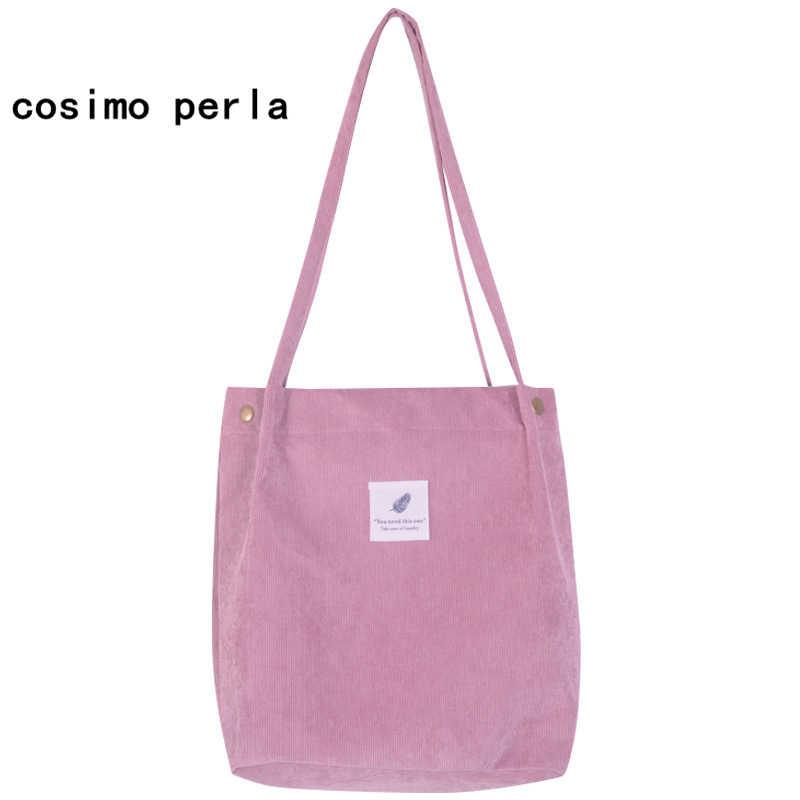 6f09d3a7c4cc Lady Corduroy Bags Canvas Korean Tote Bag for Women 2019 Recyclable Shopper  Beach Bag Literary Style Bucket Cloth Shoulder Bag