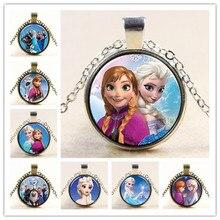 Принцесса Эльза Анна стекло с серебряным покрытием кулон ожерелье