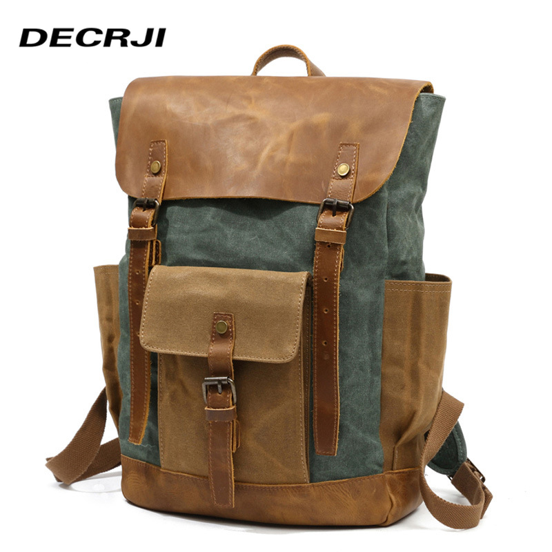 DECRJI <font><b>Genuine</b></font> <font><b>Leather</b></font> Laptop <font><b>Backpack</b></font> <font><b>Unisex</b></font> Women Men Canvas School Bag <font><b>Backpack</b></font> Large Capacity Male Rucksack Back Pack Travel image