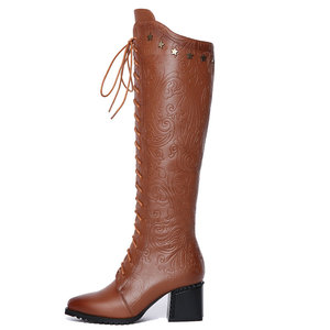 Image 2 - QUTAA 2020 Women Over The Knee High Boots Cow Leather Fashion Lace Up Pointed Toe All Match Women Motorcycle Boots Size  34 39