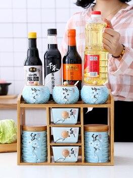 Креативные Керамические коробки для приправ, консервные банки, бытовая комбинация, китайская коробка, коллекция стеллаж, набор, каменная ба...
