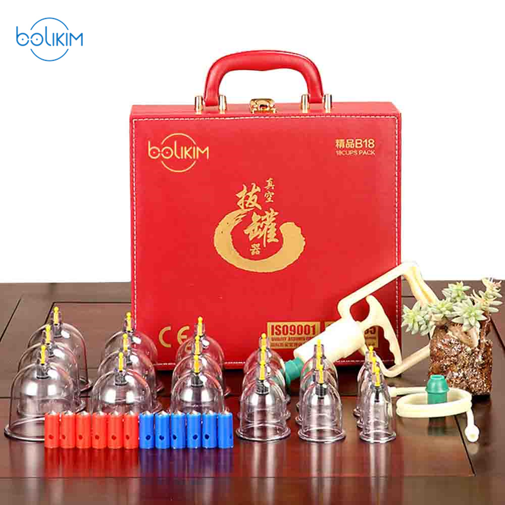 BOLIKIM Luxury Gift 18 Pieces Cans cup chinese vacuum cupping vacuum apparatus therapy massager Aviation explosion-proof plastic цена