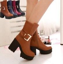 Dame plus größe 33 bis 43 coole slip on schuhe botas de inverno mulheres frauen mode braun hohe ferse plateaustiefel weibliche schuhe