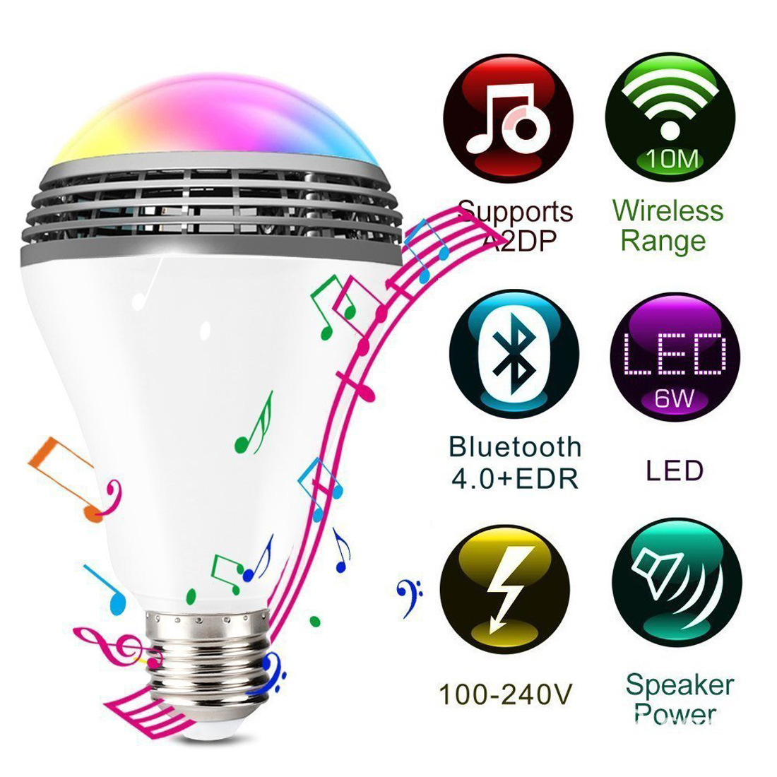 Smart LED Light Bulb E27 Smart Wireless Bluetooth Speaker Bulb Music Playing Dimmable RGB Colour Bluetooth Control Lamp Dropship