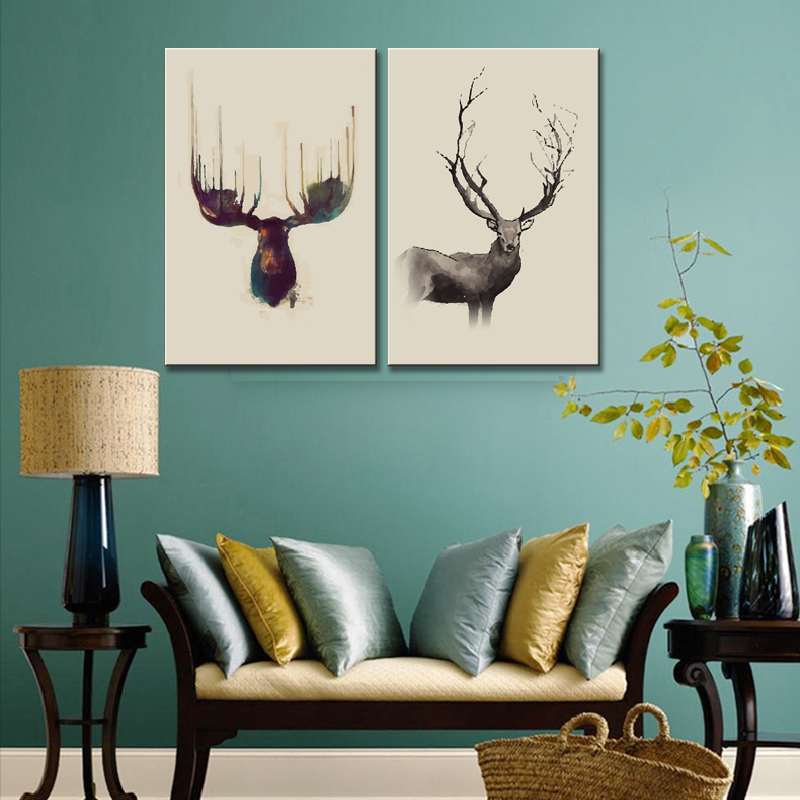Deer Head Abstract Art Painting