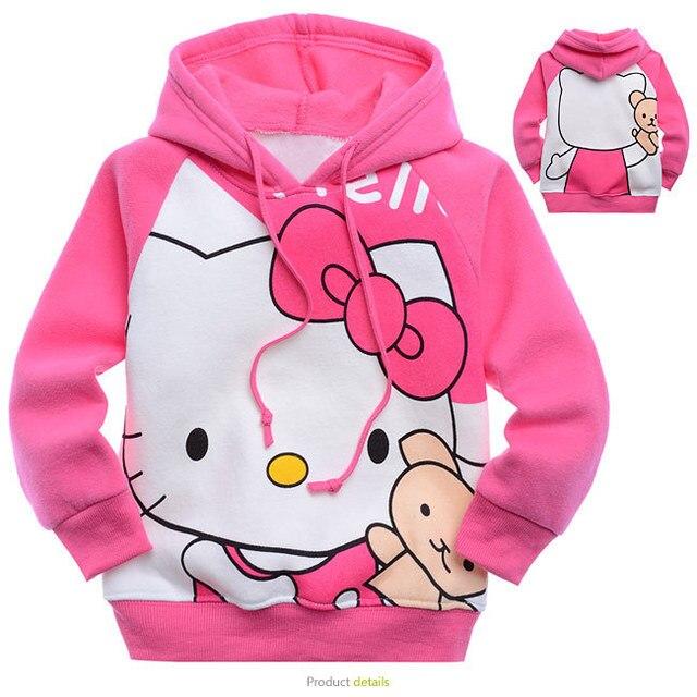 Дети толстовки Кофты Hello kitty 2-6Years Мультфильм с длинными рукавами Хлопок толстые Плюшевые дети толстовки дети верхняя одежда