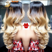 Grade 7A Full Lace Human Hair Wigs Ombre for Black Women 100% Virgin Brazilian Two Tone Ombre Color Body Wave Wig