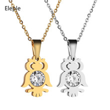 Eleple Cute Zircon Owl Pendant Stainless Steel Necklaces Female Fashion Birthday Party Jewelry Necklace Manufacturers S-N712