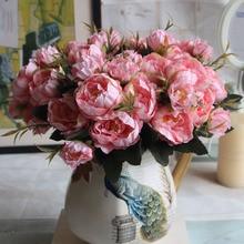1 ramo de hermosas peonías artificiales Vintage otoño simulación peonía ramo de flores para banquete de boda de oficina decoración del hogar
