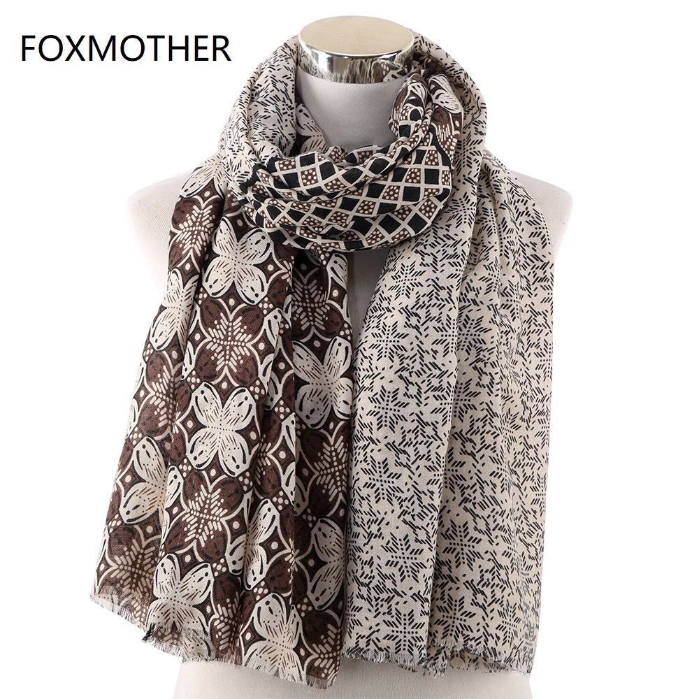 FOXMOTHER 2019 New Fashion Autumn Winter Vintage Print Pashmina Scarves Wrap Scarves Ladies