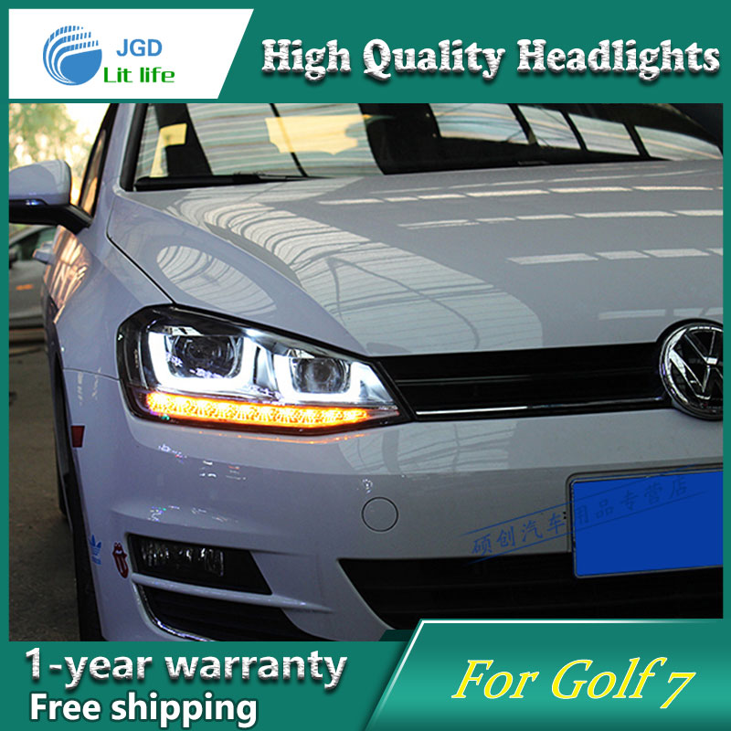 Car Styling Head Lamp case for VW Golf 7 2014 2015 red LED Headlights VW Golf7 MK7 DRL Daytime Running Light Bi-Xenon HID car styling head lamp case for vw golf 7 2014 headlights golf7 mk7 led headlight drl lens double beam bi xenon hid accessories