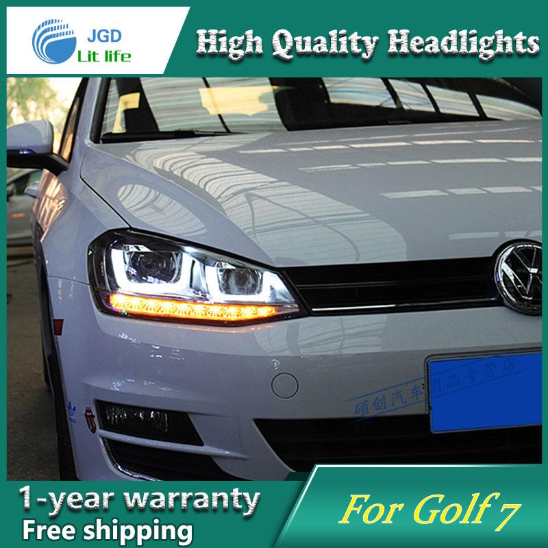 Глава стайлинга автомобилей лампы чехол для VW Гольф 7 2014 красные светодиодные фары для VW golf7 автомобиль МК7 DRL фары дневного света Би-Ксеноновые аксессуары