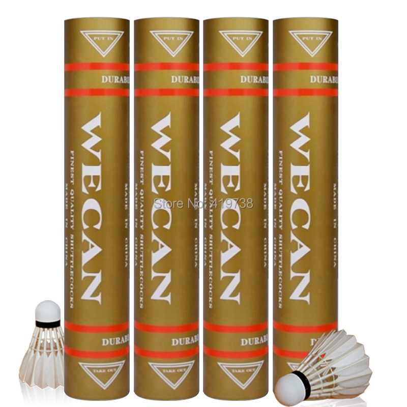 100% Оригинальные wecan Волан золото wecan класс утиное перо Волан для бадминтона для конкуренции Бесплатная доставка 5 десятки/много