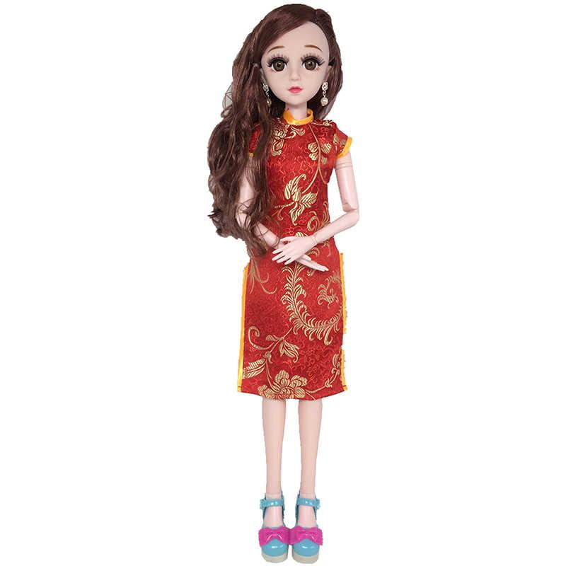 60 centímetros Bonecas Cheongsam Roupa Para 1/3 BJD Boneca Elegante Vestido Formal do Estilo Chinês Traje Antigo Acessórios Da Boneca de Brinquedo