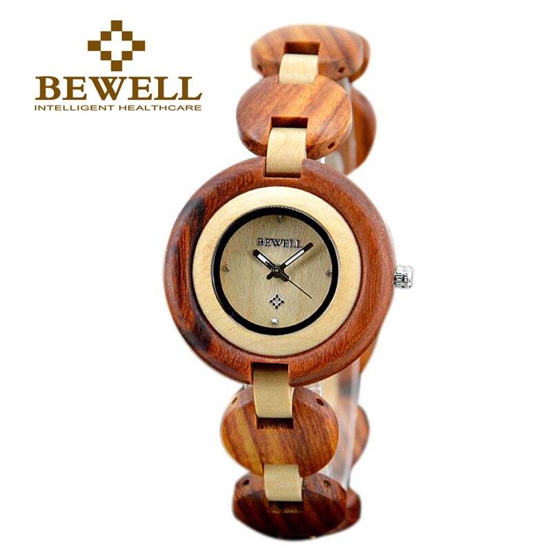 BEWELL femme montres érable naturel et santal Quartz montre-bracelet petit rond affichage numérique pur érable bois visage 010A