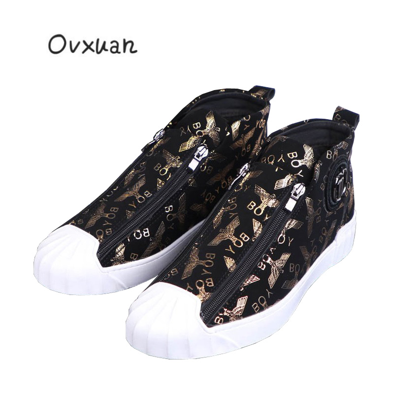 OVXUAN Gold Eagle Metal Star Shell Toe skateboarding shoes sneakers men Flats Comfortable Luxury High Top
