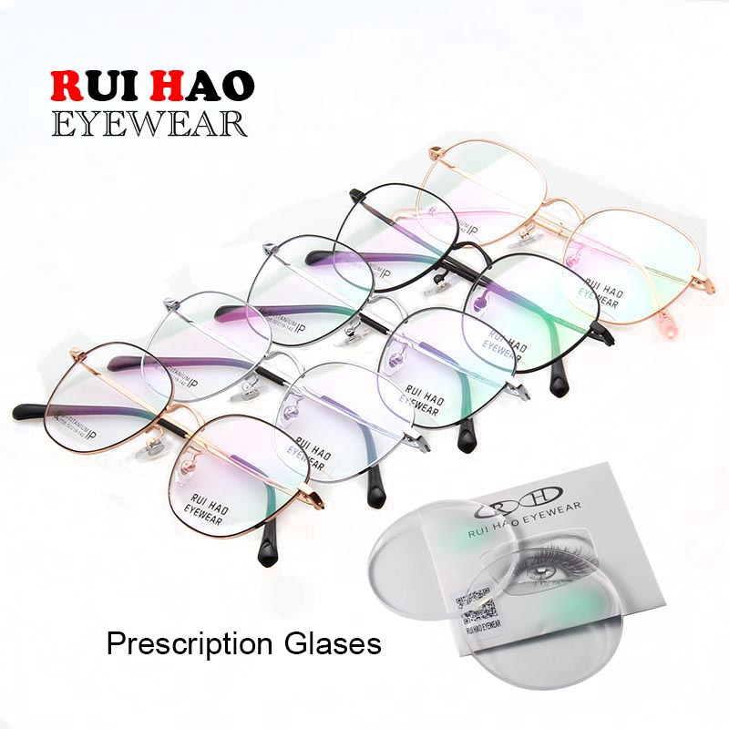Customize Myopia Eyeglasses Prescription Eyeglasses Unisex Titanium Spectacles Frame Rui Hao Eyewear Brand 7717(China)
