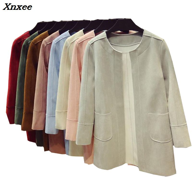 Casaco feminino 2018 early spring new leisure complex and long suede coat blouses   trench   coat for women female overcoat Xnxee