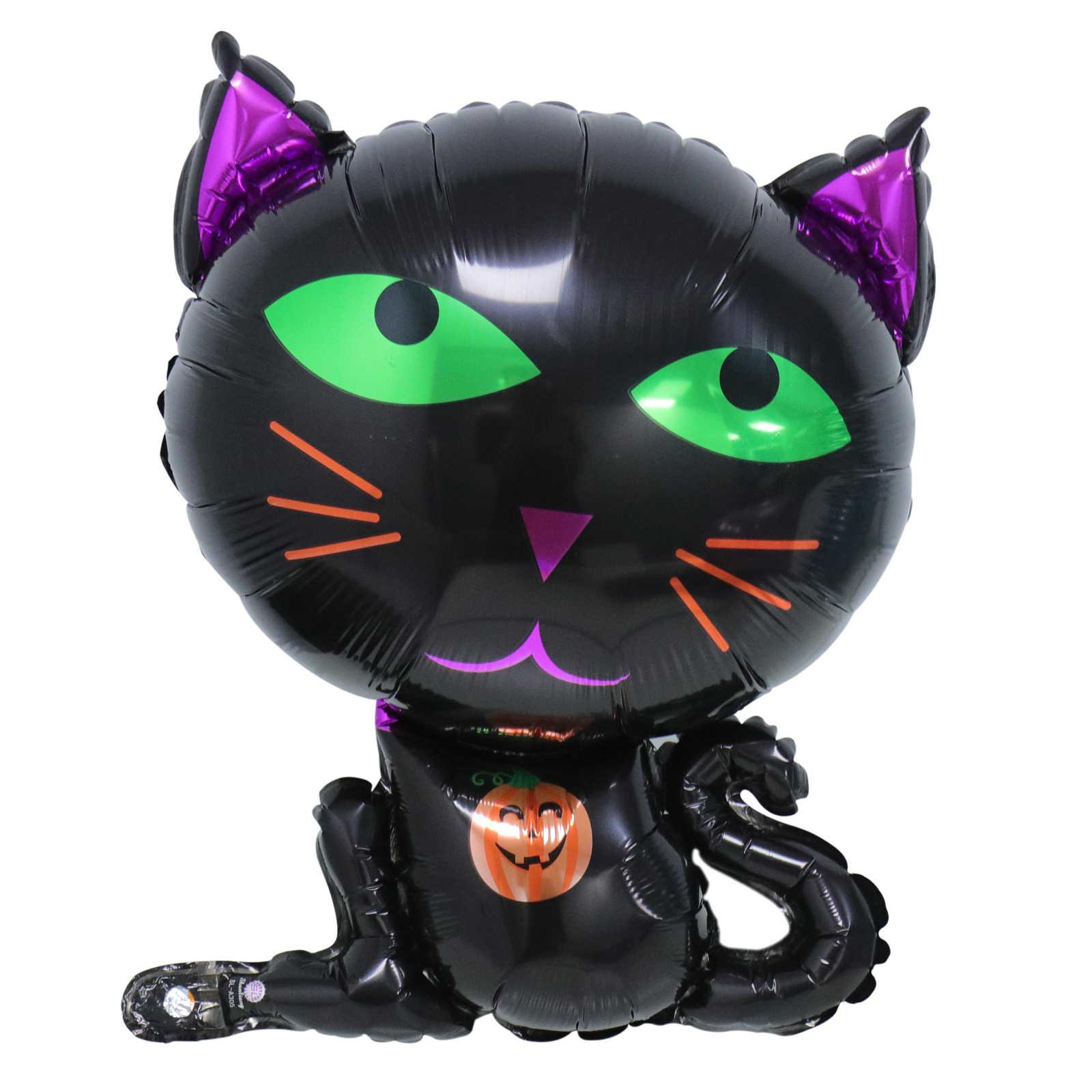 Черные воздушные шары из фольги с милым мультяшным котом для детей на день рождения, Хэллоуин, вечерние, свадебные игрушки для украшения своими руками