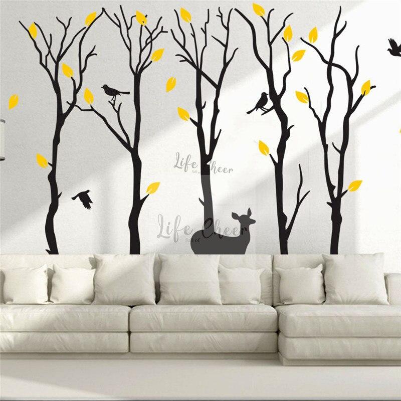 Énorme Grands Arbres Sticker Mural Vinyle Forêt Thème Enfants Chambre Décoration Branche Arbre Avec Oiseaux Art Mural Autocollants Vinyle Art AC211