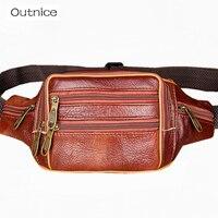 2015 New Men Bag Vintage Genuine Leather Cowhide Men Waist Sports Bags Outdoor Travel Belt Wallets