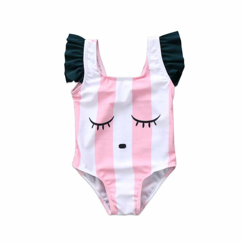 الطفل ملابس سباحة للفتيات الوردي/الأبيض مخطط عيون نمط 0-3Y الاطفال ملابس سباحة الأطفال ثوب سباحة من قطعة واحدة الصيف الشاطئ ارتداء