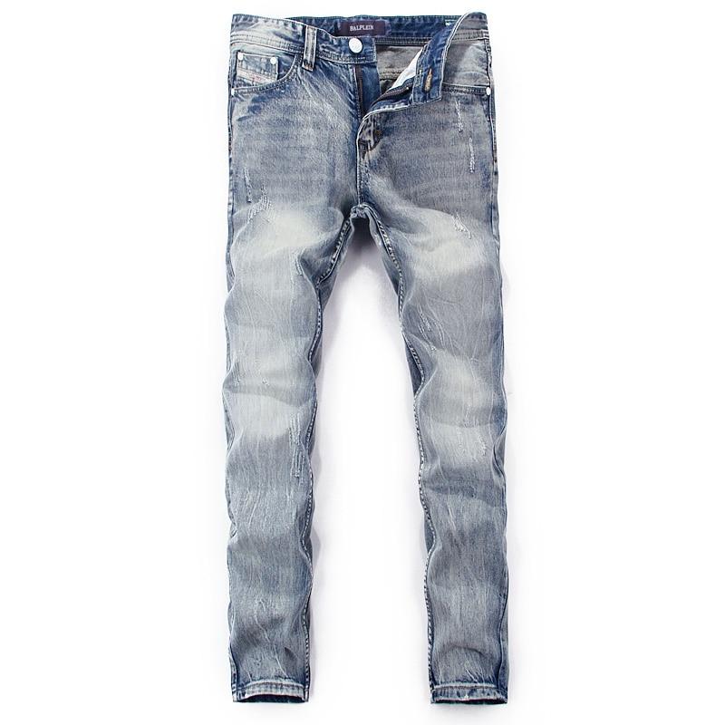 Fashion Classical Men Jeans Vintage Designer Blue Color Straight Fit Denim Pants Simple Cotton Jeans Homme Ripped Jeans For Men