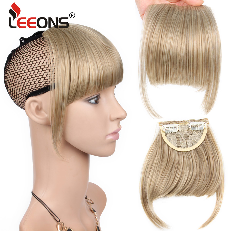 Leeons Women Synthetic Clip In Bangs Fringe Hair Extensions Front On