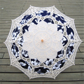 Fashion Bridal Umbrellas White Lace Umbrella Cotton Parasol Umbrella Blue Printed Wedding Decoration Victorian Costume Accessory