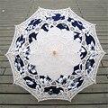 Moda Paraguas De Novia de Encaje Blanco Boda Paraguas Parasol Paraguas de Algodón Azul Impreso Decoración Victoriana Traje Accesorio