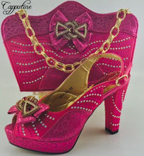 Capputine New African Shoes With Bag Sets Italian Style Decorated With Rhinestone High Heels Shoes And Bag Set For Party ME6603