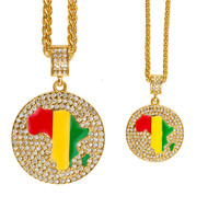 Iced Out New Arrival Pendant Necklace Africa Map with Rhinestone Hip Hop Necklace Great Gift for Couple Lovers