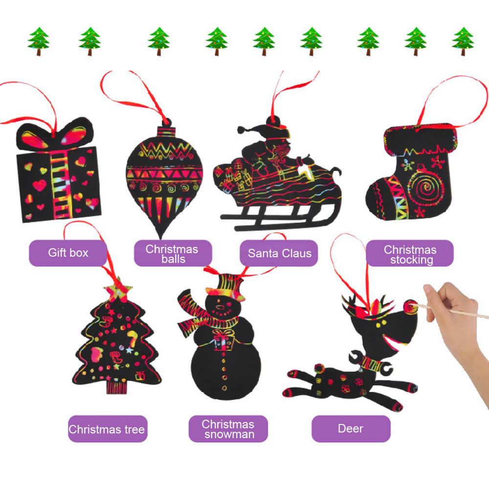 7 шт. DIY Рождество стиль Магия Радуга царапинам книги по искусству карточка для рисования красочные скребковая живопись Stick ручка Doodling инструмент для граффити игрушка