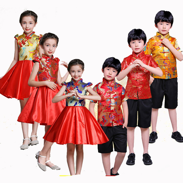 74c1901ed21 Kid China dress Tang Dynasty Chinese traditional garments costume pants for children  boy girl clothing short sleeve