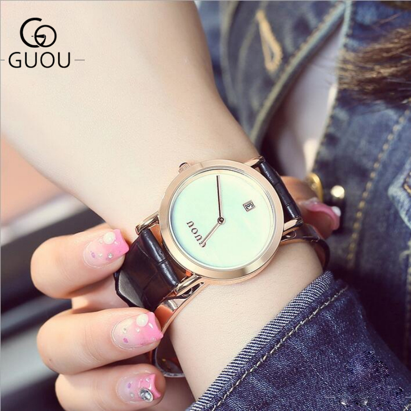 GUOU Ladies Watch Fashion Simple Leather Women's Watches Top Brand Auto Date Women Clock Saat Relogio Feminino Montre Femme relojes mujer 2017 guou brand casual women watches fashion simple ladies quartz watch waterproof leather clock relogio feminino