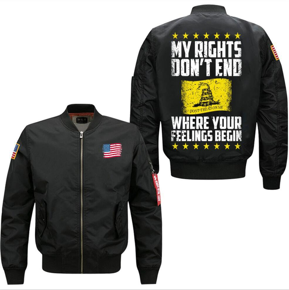 2018 new My Rights Dont End spring autumn men's leisure jacket collar code Air Force pilots jacket