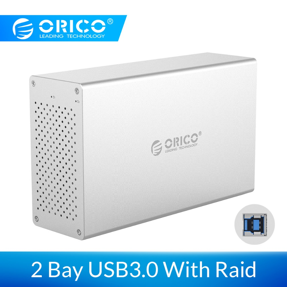 ORICO 2 Bay USB 3.0 Hard Drive Case With Raid Aluminum Alloy 5Gbps Superspeed HDD Enclosure With 12V Power Adapter Support 20TB