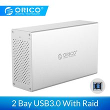 ORICO 2 Bay USB 3.0 Hard Drive Case Met Raid Aluminium 5Gbps Superspeed HDD Behuizing Met 12V power Adapter Ondersteuning 20TB(China)