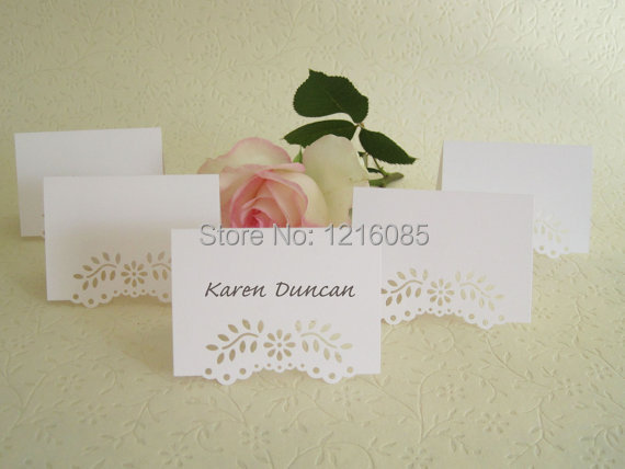 Blank Wedding Place Cards Eyelet Vine Lace Tent Place Cards Escort