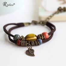 Rinhoo, богемные ювелирные изделия, мужские браслеты, винтажные, из бисера, керамические, кожаные, браслеты для женщин, цветные, из бисера, лист, кулон в форме колокольчика