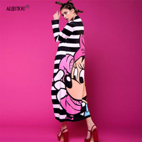Minnie Black and White Striped long Dress Women Mickey Mous Cartoon Loose Cute big hem casual vestidos Miki Birthday Party Dress
