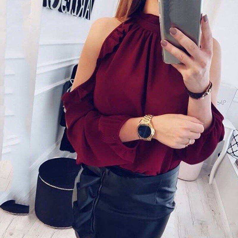 2018 Summer Ruffles Off Shoulder Tops Women   Blouses     Shirt   Long Sleeve Pleated Halter Elegant   Blouse   Women   Shirt   2018 Solid Color