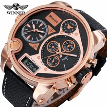 2017 Men Digital Quartz Watch 3 Time Zone Sub-dial Leather Strap Rose Gold Oversize Case Military Luxury Watches for Men + Box