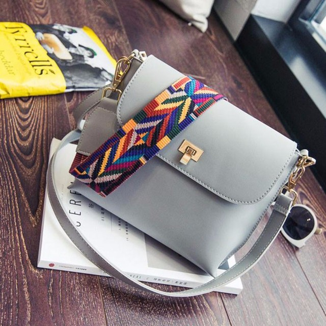 e00898324b57 New fashion Hot Sale Women Leather Shoulder Bags Simple Flap Sling  Crossbody Messenger Bags Colorful Wide Strap Handbag Purses