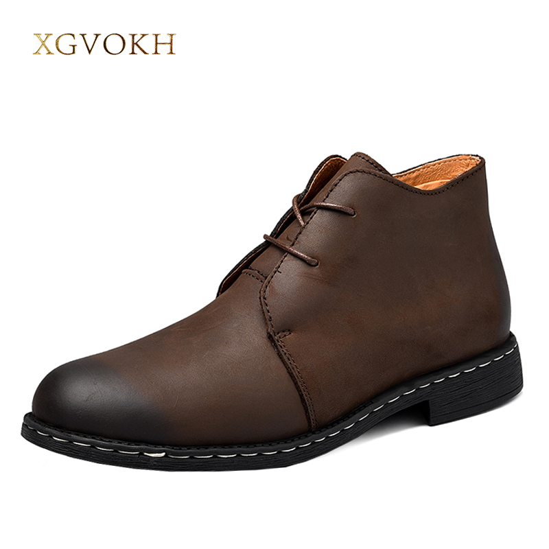 XGVOKH Men Ankle Boots Desert Fashion Spring/Autumn Footwear Genuine Leather Mens shoes Lace Up Casual Short Boot Brown Black men s casual shoes breathable black men shoe mens fashion genuine leather man footwear spring autumn 2017 new