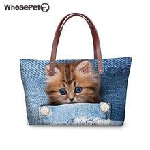 dc284ea04db0 WHOSEPET Women Shoulder Bag Cute Cat Print Large Handbags Kawaii Top-handle  Bags for Ladies 3D Blue Denim Pocket Clutch Bag 2018