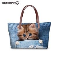WHOSEPET Women Shoulder Bag Cute Cat Print Large Handbags Kawaii Top handle Bags for Ladies 3D Blue Denim Pocket Clutch Bag 2018